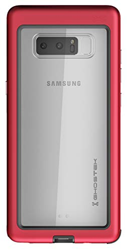 Ghostek Atomic Slim Clear Back Shockproof Case Designed for Samsung Galaxy Note 8 - Red | Supports Wireless Charging