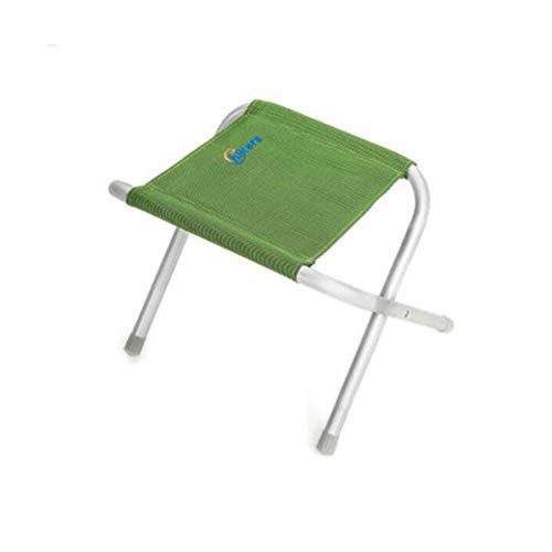 (FH Outdoor Small Horses Portable Beach Mini Sketch Fishing Stool Aluminum Household Lazy Folding Stool (Color : Green))