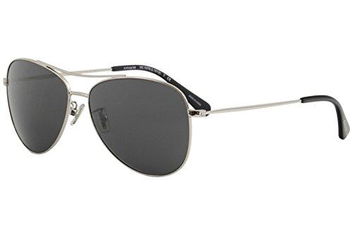 COACH Women's 0HC7079 58mm Shiny Silver/Dark Grey Solid One Size (Lens Solid Grey)