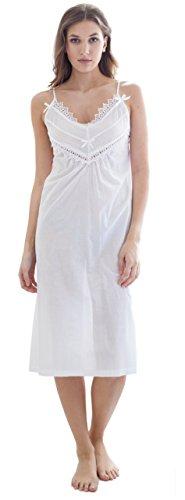 Cotton Real - Chemise de nuit - Femme blanc blanc