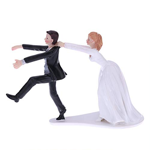 CheeseandU Bride&Groom Figurines Romantic Bride and Groom Wedding Cake Topper Funny Resin Couple Hug Kiss Bridal Show Stand Cake Topper Wedding Party Engagement Anniversary Decoration,Run Groom