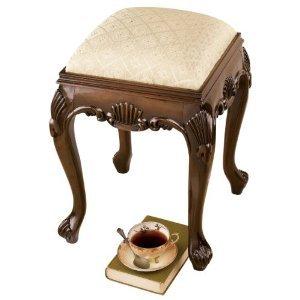 Hand-carved solid hardwood Walnut antique replica Queen Anne Stool Walnut Antique Dresser