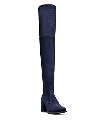 women's fashion winter Boots Suede shoes and Autumn blue round stilettos OqEwUtwRx
