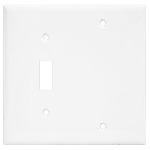 Enerlites 880111-W Toggle Switch and Blank Wall Plate Combination by 881101-W Home Light Outlet Cover, 2-Gang, White, Standard Size, Unbreakable Polycarbonate