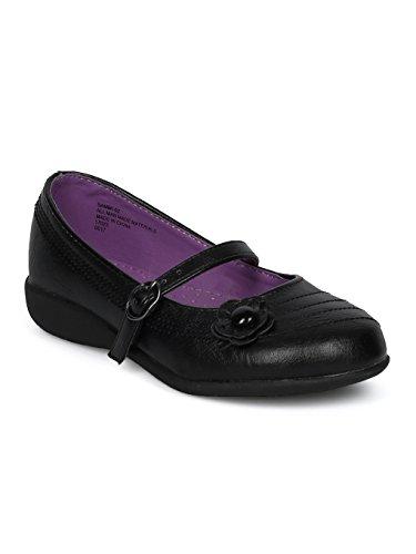 Schola Sammi-02 Girls Leatherette Round Toe Flower Applique Mary Jane Uniform Shoe HD42 - Black Leatherette (Size: Big Kid 3) -