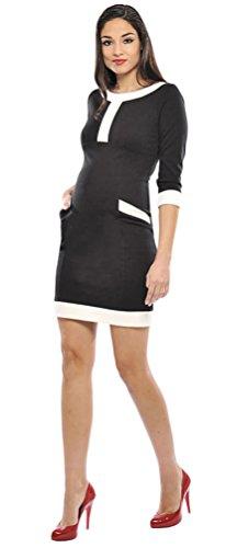 Olian Maternity Women's Caroline White Trim Ponte Dress Sz Large Black