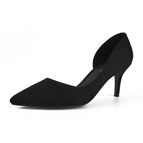 Jqdyl Tacones 7Cm señaló tacones altos con solo zapatos primavera 2018 New Wild zapatos profesionales de trabajo de las señoras black