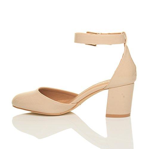 Damen Mitte Blockabsatz Knöchelriemen Schnalle Elegant Pumps Sandalen Größe Beige Lack