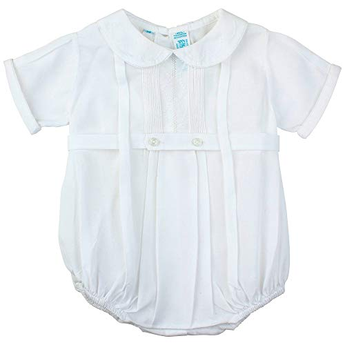 Feltman Brothers Christening - Feltman Brothers  Boys Dressy White Baptism Bubble Outfit Round Collar (3M)