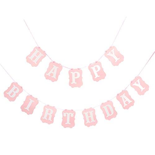 Birthday Banner Designs - Happy Birthday Banner - 2018 New Design Pink and White Happy Birthday Decorations Supplies(Pink)