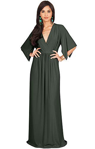 KOH KOH Womens Long Kaftan Caftan Short Sleeve Empire Waist Flowy V-Neck Summer Bridesmaid Evening Sexy Cute Modest Maternity Gown Gowns Maxi Dress Dresses, Olive Green L 12-14