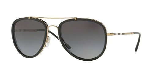Burberry Unisex 0BE3090Q Brushed Light Gold/Black/Polarized Grey Gradient One - Sunglasses Burberry Unisex