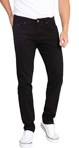 WULFUL Men's Skinny Slim Fit Stretch Straight Leg Jeans/Black/32Wx32L