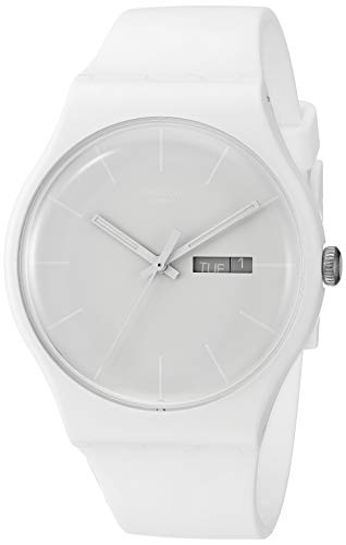 Swatch Unisex SUOW701 Quartz Plastic White Dial Watch (Water Resistant Watch Swatch)