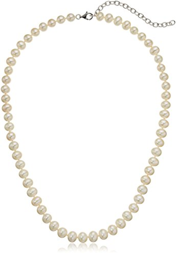 Freshwater Cultured White 18'' with 3'' Extender Silver Chain Pearl Strand by Amazon Collection