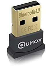 QUMOX Bluetooth 4.0 USB Adapter/Dongle, Bluetooth Transmitter and Receiver for Windows 10/8.1/8 / 7 / Vista, Plug and Play Compatible Windows 7 and Above