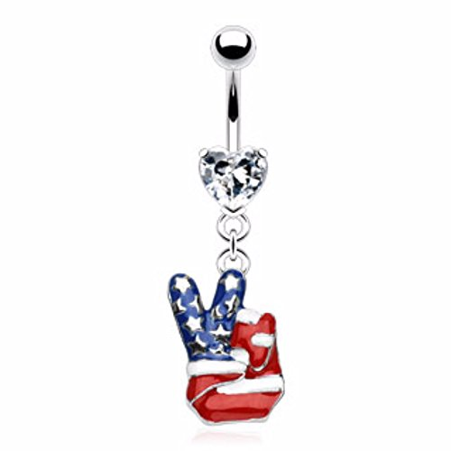 American Flag Finger Peace Sign Dangle Navel Ring Freedom Fashion 316L Surgical - Peace Flag Buttons Sign