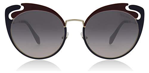 Miu Miu Women's See Through Cat Eye Sunglasses, Gold Garnet Blue/Violet Mirror, One Size