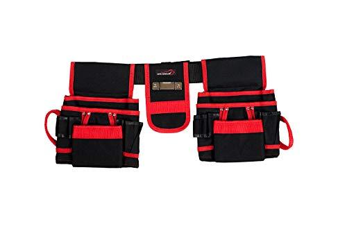 SAFE HANDLER Professional 12 Pocket Tool Pouch with Belt | Durable 600D Black Canvas, Spacious Tool Pockets, 2 hammer loops, metal measuring tape holder and Adjustable Belt
