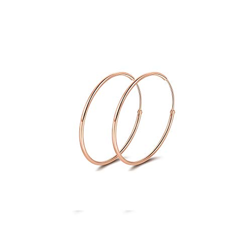 Sterling Silver Circle Endless Hoop Earrings,18K Rose Gold Plated High Polished Thin Hoops Earrings for Women (30mm) by DESIMTION