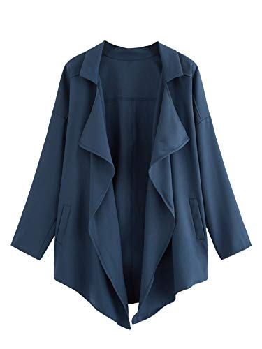 (Romwe Women's Plus Drop Shoulder Waterfall Collar Long Sleeve Trench Coat Open Front Cardigan #Navy 2X)