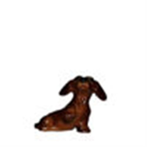 Red DACHSHUND Dog Pup sits w/Paw Up MINI MINI Figurine Ceramic HAGEN-RENAKER 3204