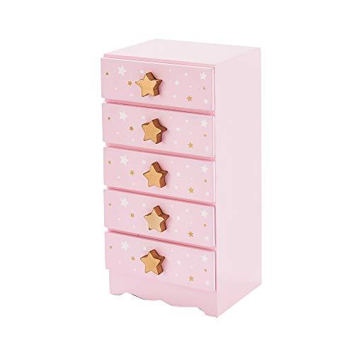 Teamson Kids TD-12884A Fashion Star Prints Renee Jewelry Box, Pink/ White/ Gold