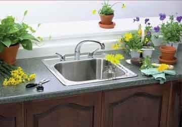 Elkay Single Basin - Elkay ESE2020100 0-Hole Gourmet 20-Inch x 20-Inch Single Basin Drop-In Stainless Steel Kitchen Sink