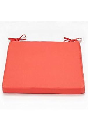 Coussin Galette De Chaise Impermeable 38 X Cm Orange Corail