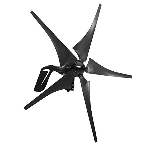 ZUINIUBI 5 Blades Wind Turbine 12/24V 1000W Peak Wind Generator with Charge Controller (Wind Turbine Rotor)
