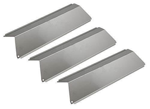 Hongso SPE691 (3-Pack) Stainless Steel Heat Plates, Heat Shield, Heat Tent, Burner Cover, Vaporizor Bar, and Flavorizer Bar Replacement for Select Fiesta Gas Grill Models (14 11/16