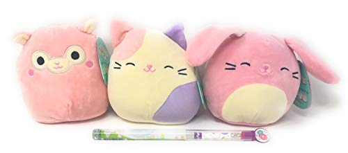 Easter Squishmallows Bop the Pink Bunny, Mauve the Alpaca, Charlotte the Pastel Cat (All 5 Inches Tall) Bundle of 3, Also Includes a Scented Pencil