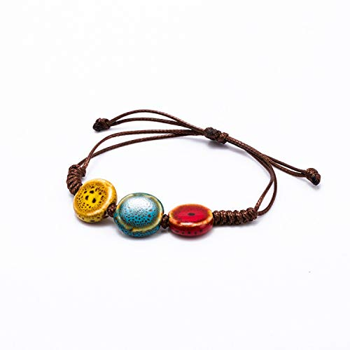 NEW Love Heart Stone Women's Ceramic Bracelet Female Hand-woven Glaze Fashion Jewelry National wind Colorful Anklet Bracelet,C - John Wind Heart Necklace