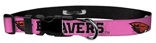 Moose Pet Wear Dog Collar - Oregon State University Beavers Adjustable Pet Collars, Made in The USA - 3/4 Inch Wide, Medium, Pink