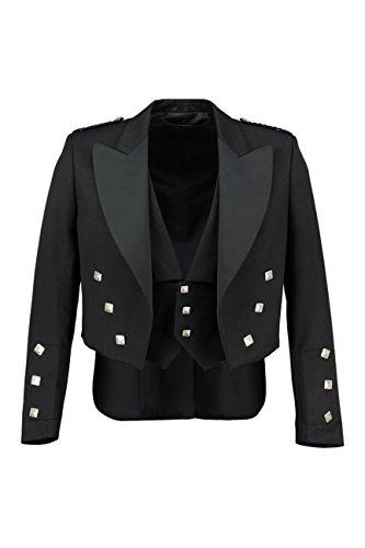 - Pro Scottish LLC Prince Charlie Jacket Black with 3 Button Vest. Shiny Satin Lapels. (Chest 46