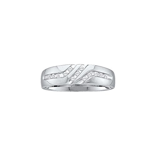Jewels By Lux 10kt White Gold Mens Round Channel-set Diamond Triple Row Wedding Band Ring 1/8 Cttw (I2-I3 clarity; J-K color)