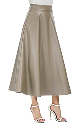 etuoji Women High Waisted Skirts Full Long Pleated A line Faux Leather Swing Maxi Skirt