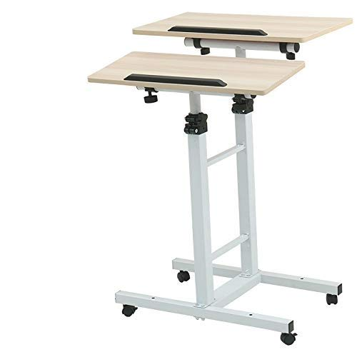 AMY Stand-up Laptop Desk Mobile Desk Computer Lecture Mobile Table Monitor Stand Mobile Conference Activity Table Ergonomic Desk Workbench Desk (Color : Maple Color)