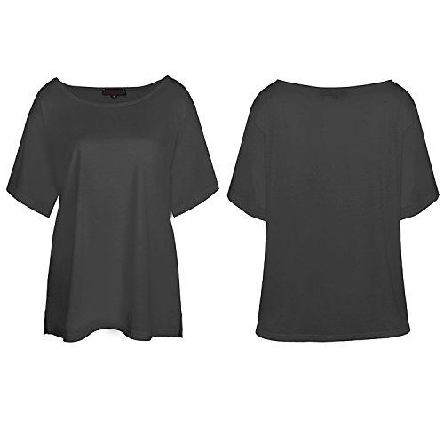 WanYang Mujeres Del Verano Del Hombro De La Camiseta De Manga Corta Ocasional De La Camiseta Negro