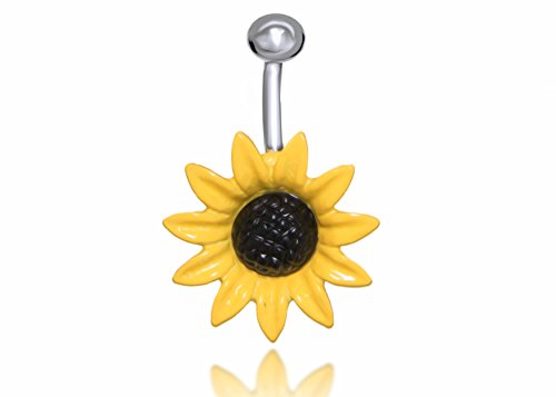 Sun Flower Surgical Steel Belly Button Ring 14G 3/8 Bar Length