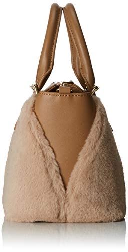 Moschino poliestere Satchel Pu Grain Pin Brown Borsa Love Cammello Women's gqxSwU