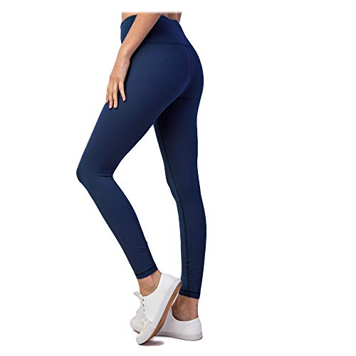 HYKEE High Waist Super Soft Tummy Control Yoga, Work-Out, Everyday Leggings (Navy, Large)
