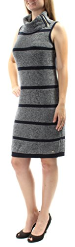 Tommy Hilfiger Women's Striped Cowl-Neck Sweater Dress (XL, Navy/White)