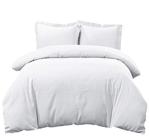 Royal Hotel's Solid White 300-Thread-Count 3pc Queen Duvet-Cover 100-Percent Cotton, Superior Percale Weave, 100% Cotton