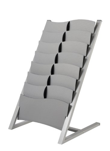 PaperFlow Multi-Sized 7 Compartment Floor Literature Display, Single Sided, 37.4x23x22 Inches, Silver (2860.35) ()