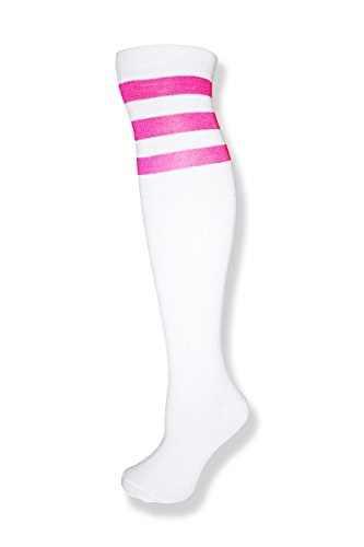 Unisex White Knee High Team Tube Socks w/Three Various Colored Stripes (White w/Neon Pink) -