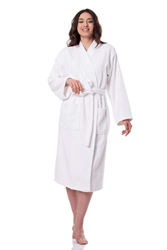 SelecTTowels Women's Luxury Robe Turkish Cotton Terry Kimono Bathrobe Made in Turkey (L/XL, White)