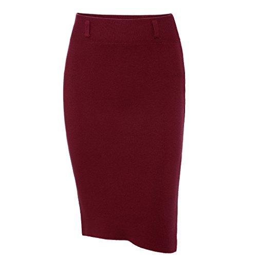 Suit Red Skirt Wool (XWDA Women's Knit Wool High Waist Midi Slit Skirt (Dark Red))