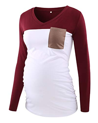 - Ecavus Women's Casual Maternity Tops Long Sleeve V Neck Colorblock Pregnancy T-Shirt with Pocket Wine Red