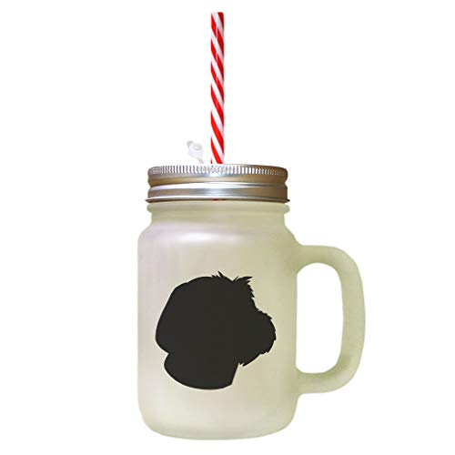 Black Wirehaired Pointing Griffon Silhouette Frosted Glass Mason Jar With Straw